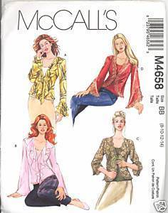 New 2000s Top Bias Tank Drape Blouse McCalls 4658 Bust 32 34 36 Sewing Pattern McCall's