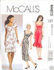 Uncut Size 4 6 8 10 Close Fitting Princess Seam Dress McCalls 4870 Pattern