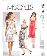 Uncut Size 4 6 8 10 Close Fitting Princess Seam Dress McCalls 4870 Pattern  - $8.99