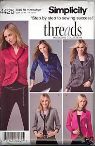 New Threads Lined Jacket Simplicity 4425 Plus Size 14 16 18 20 22 Sewing Pattern Simplicity New Look