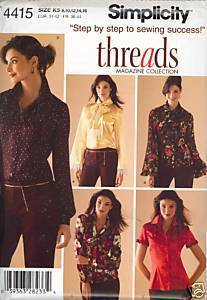 New 2000s Blouse Scarf Threads Simplicity 4415 Bust 32 34 36 38 Sewing Pattern Simplicity New Look