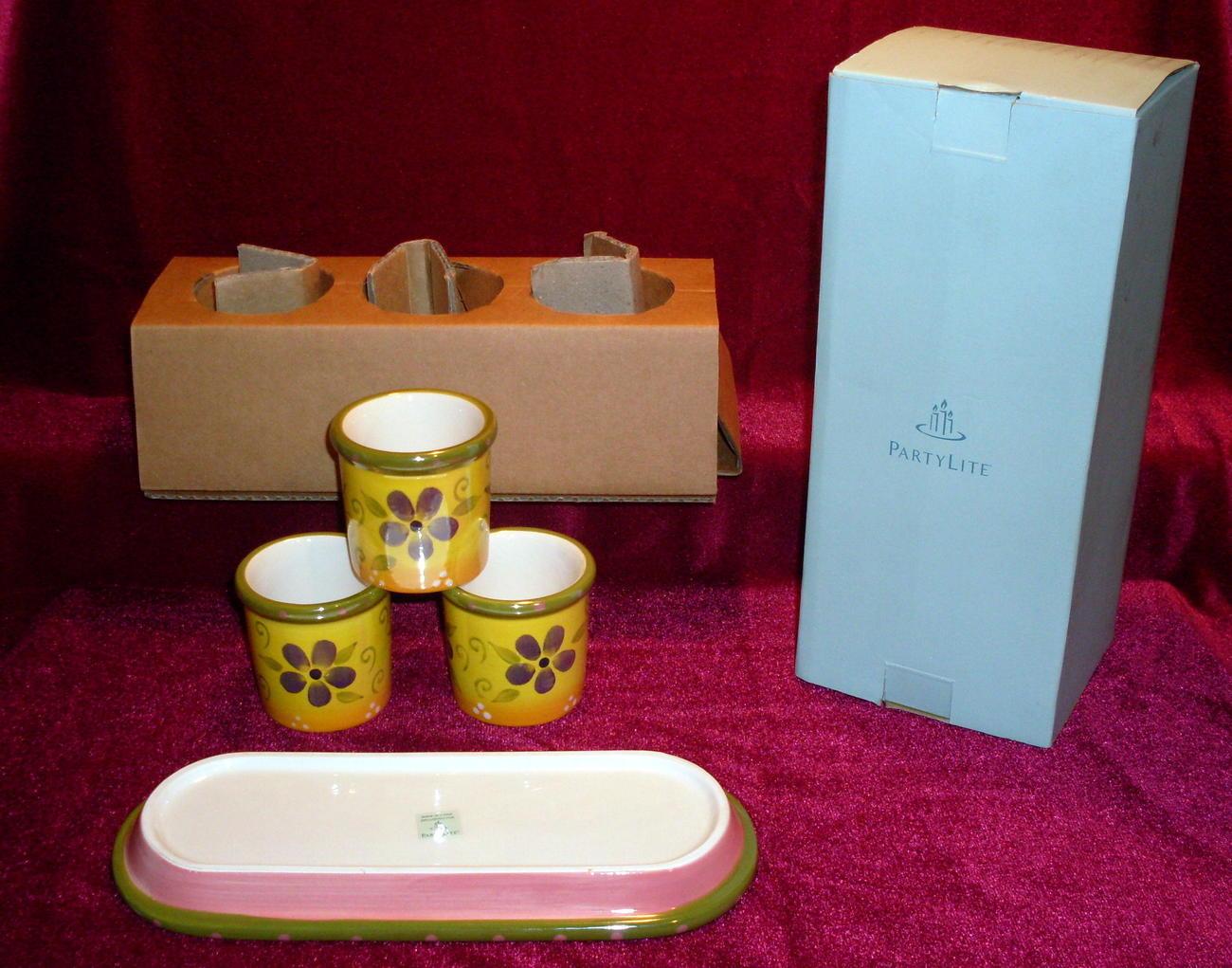 partylite flower pot trio p9270 nib votive holders or herb pots candle holders. Black Bedroom Furniture Sets. Home Design Ideas