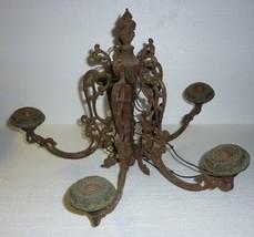 Antique Architectural Salvage Cast Iron Hanging Light Fixture - $45.46