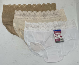 Olga NWT XL/8 All Day Fit Microfiber White Tan Hipster Panties A6 - $19.79