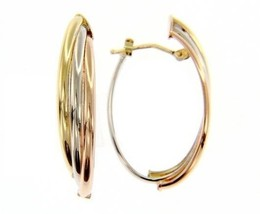 18K YELLOW WHITE ROSE GOLD OVAL HOOP EARRINGS SIZE 32 MM x 12 MM MADE IN ITALY image 1