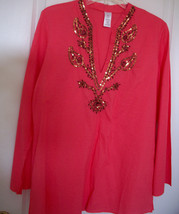 NEW $49 Coral Tunic Top Pullover Embellished Brown  Cotton Shirt Boho Hi... - $29.99