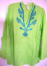 NEW $49 Green Tunic Top Pullover Turquoise Embellished Cotton Shirt Boho... - $39.59