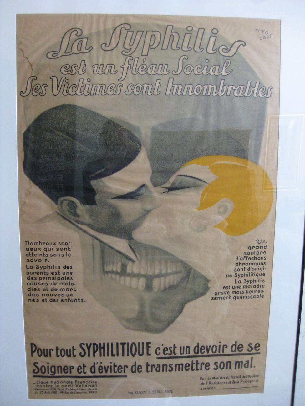 Super Rare Original French Syphillis Advertising Poster Paris c1926