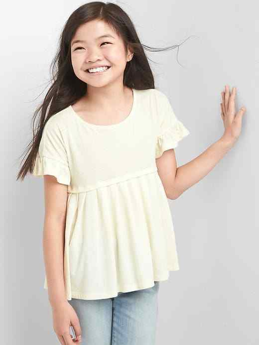 Gap Kids Girls T-shirt Top 12 Ivory Cream Pleated Short Sleeve Ruffle Yoke New