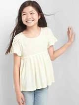 Gap Kids Girls T-shirt Top 12 Ivory Cream Pleated Short Sleeve Ruffle Yo... - $16.95