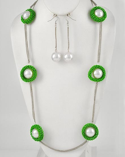 Fashion Green Mesh With White Faux Pearl Necklace & Earring Set