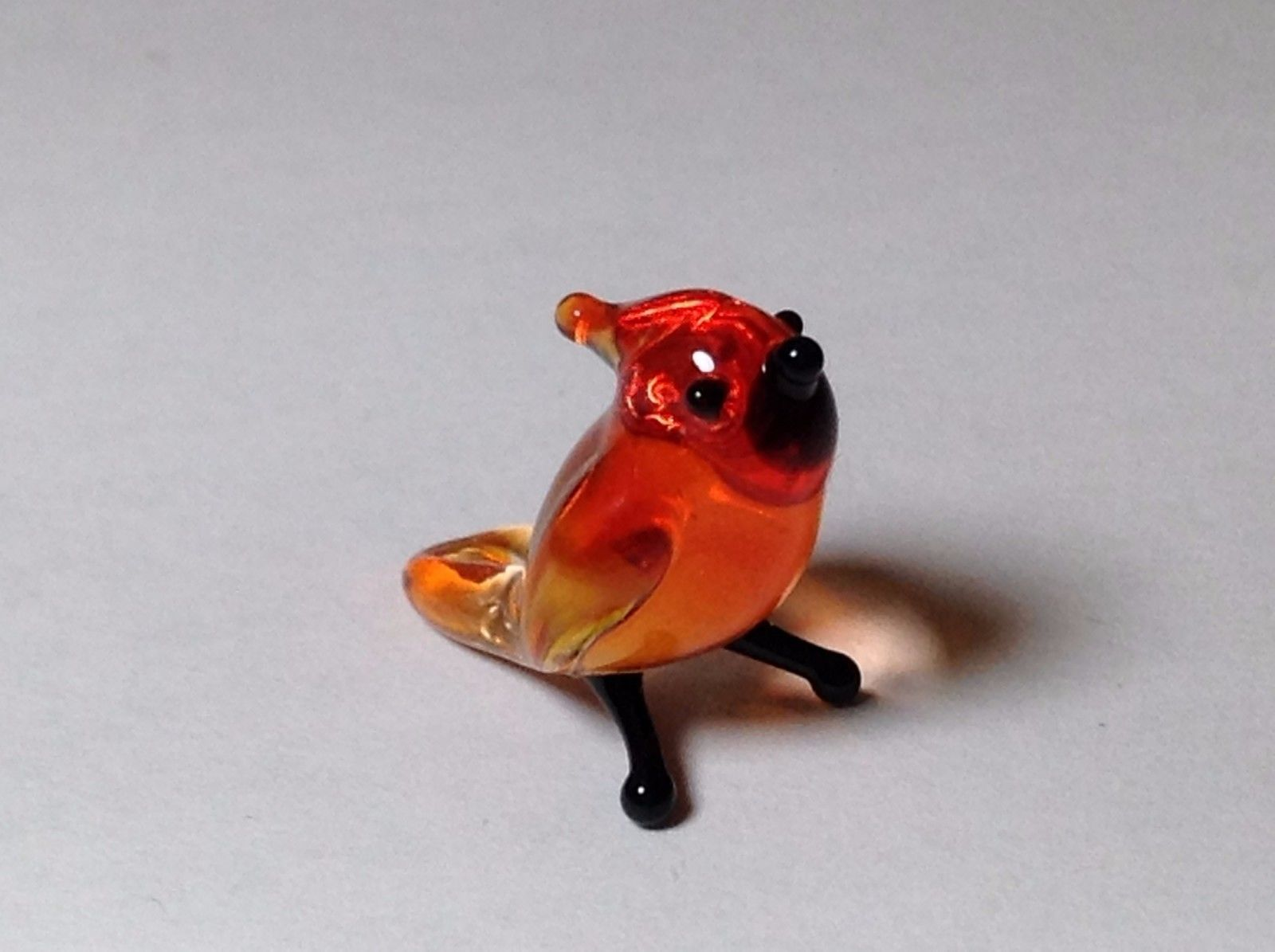 Miniature Glass Red Cardinal  Handmade Blown Glass Made USA