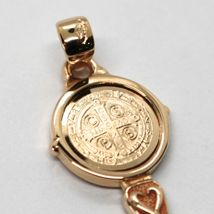 SOLID 18K ROSE GOLD KEY PENDANT, SAINT BENEDICT MEDAL, CROSS, 1.2 INCHES image 6