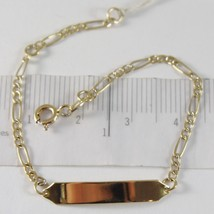 Yellow Gold Bracelet 750 18k, OVAL ALTERNATING and Plate for Engraving, 15 cm image 1