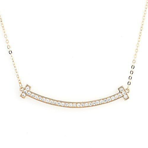 UE- Sleek Rose Tone Designer Bar Necklace With Pave Set Swarovski Style Crystals image 2
