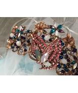 Rose gold floral crown, wedding headpiece, bridal headband, butterfly cr... - $58.88