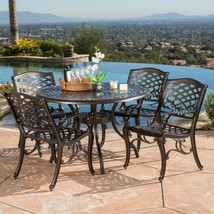 5-piece Outdoor Dining Furniture Cast Aluminum Bronze Round Table Chairs... - €715,12 EUR
