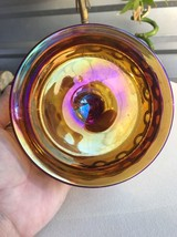 Indiana Carnival Glass Amber Gold Candy Dish Pe... - $37.00