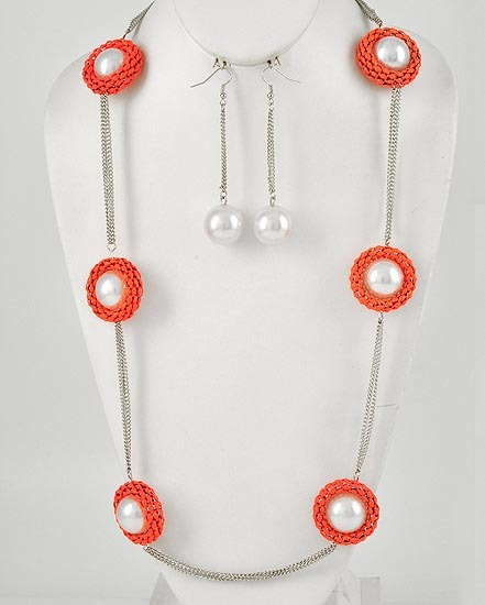 Fashion Neon Orange Mesh With White Faux Pearl Necklace & Earring Set