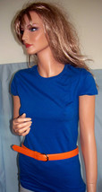 NEW M Medium Blue Long T-SHIRT TUNIC TOP Orange Leather Belt Set Shirt  ... - $9.99
