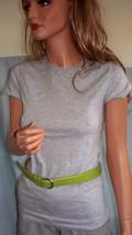 NEW M Medium Gray Long T-SHIRT TUNIC TOP Green Leather Belt Set Shirt Su... - $9.99