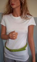 NEW M Medium White Long T-SHIRT TUNIC TOP Green Leather Belt Set Shirt 2... - $9.99