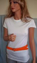 NEW M Medium White Long T-SHIRT TUNIC TOP Orange Leather Belt Set Shirt ... - $9.99