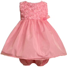 Bonnie Jean Baby Girl 3M-24M Pink Bonaz Rosette And Mesh Overlay Social Dress