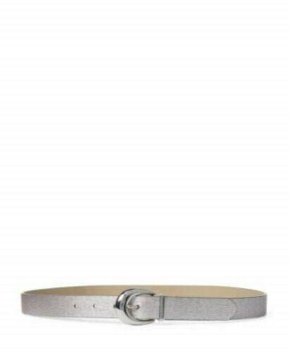 Lauren by Ralph Lauren Newbury Saffiano to Smooth Reversible Belt (Silver, S)