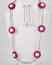 Fashion Fuchsia Mesh With White Faux Pearl Necklace & Earring Set - $16.99