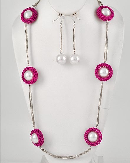 Fashion Fuchsia Mesh With White Faux Pearl Necklace & Earring Set