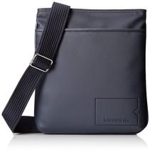 Lacoste Men's Premium Classic Croc Logo Flat Crossover Bag Black Iris NH1308HC
