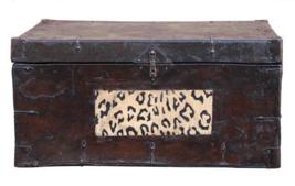 Chinese Handmade Vintage Leather Iron Hardware Trunk cs2461 - $880.00