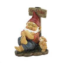 Garden Gnome on Strike with Giggling Bunny Indoor or Outdoor Figurine - $21.99