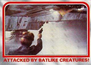 1980 Topps Star Wars Empire Strikes Back Red Cards ATTACKED BY BATLIKE CREATURES