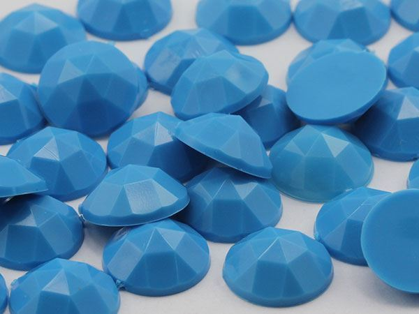 13mm Blue Tourquoise .T001  Flat Back Round Acrylic Gems - 50 Pieces