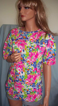 NEW Small T-Shirt Pullover Floral Embellished Cotton Tunic Pullover Top ... - $14.99