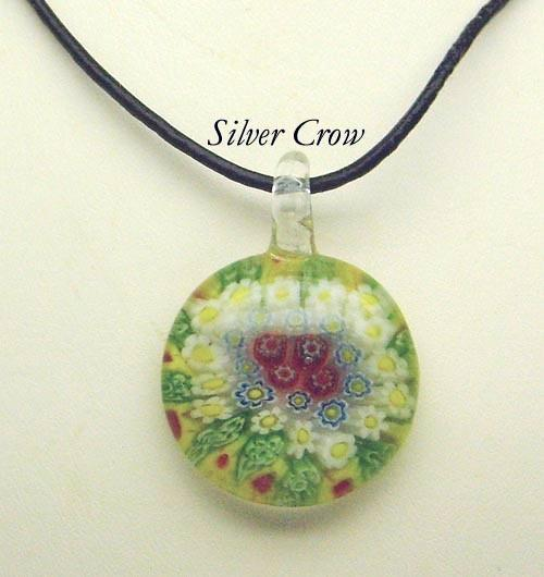 Murano Milifiori Lime Green, Yellow, White & Red Pendant Necklace