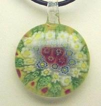 Murano Milifiori Lime Green, Yellow, White & Red Pendant Necklace - $18.99