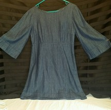 Urban Outfitters Cooperative 100% Cotton Denim Dress Bell Sleeves Blue S... - £19.77 GBP