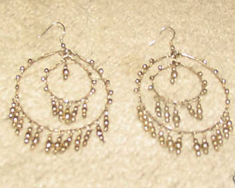 Vintage Costume Jewelry Goldtone Double Hoop Earrings