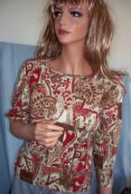 New Xs Sonoma T Tee Shirt Pullover 3/4 Slv Brown Cream Wine Print Top Cotton - $8.99