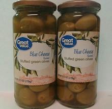 Blue Cheese Stuffed Halkidiki Green Olives, 9.5 oz Pack of 2 - $27.85