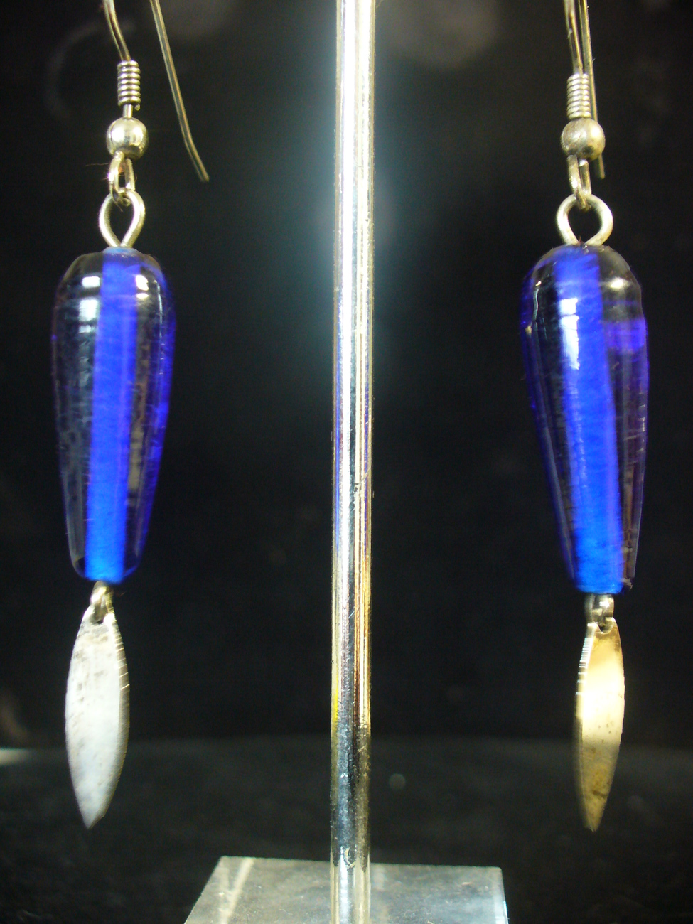 Primary image for Cobalt Earrings w/ SS Dangles on Surgical Steel Ear wires