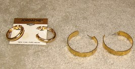 Vintage 2 Pair Goldtone Hoop Pierced Earrings - $7.95