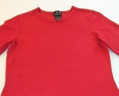 WOMEN INC RED CAREER SHIRT TOP S SMALL 3/4 SLEEVE