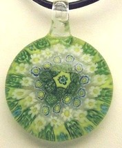 Murano Milifiori Lime Green, Yellow & White Pendant Necklace - $18.99
