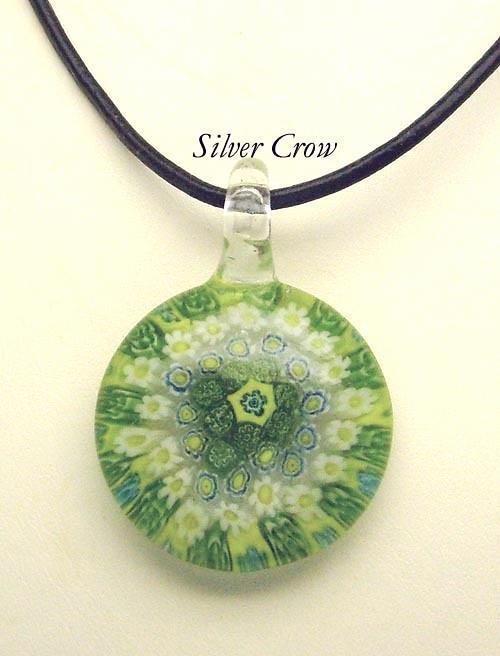 Murano Milifiori Lime Green, Yellow & White Pendant Necklace