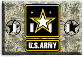 US ARMY STAR DIGITAL PIXEL CAMO 4 GANG LIGHT SWITCH PLATE ROOM ART VETER... - $17.99