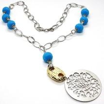 Halskette Silber 925, Medaillon Matt, Türkis Facettiert, Anhänger image 1